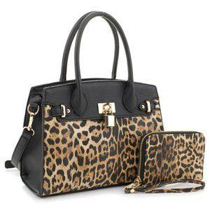 2 in 1 Black Leopard Vegan Leather Bag & Wallet